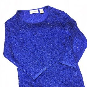 Lovely Shiny Royal Blue Crew Pullover Sweater /Sm.